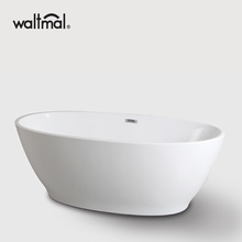 New Curves Acrylic Freestanding Bathtub berwarna putih