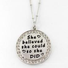 На заказ пользовательских из нержавеющей стали круглый кулон ювелирные изделия ожерелье