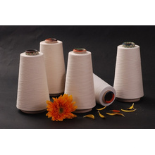 Fil de tissu de tricotage recyclé mélangé de coton de blanchiment