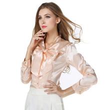 2017 otoño nueva versión coreana señoras camisa con cuello en v gasa blusa tops mujeres