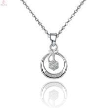 Chaîne 925 Sterling Silver Big collier pendentif rond en cristal