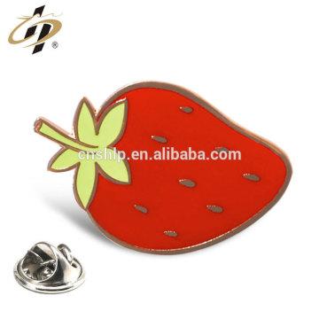 Promotional hard enamel gold plated custom strawberry pin badge