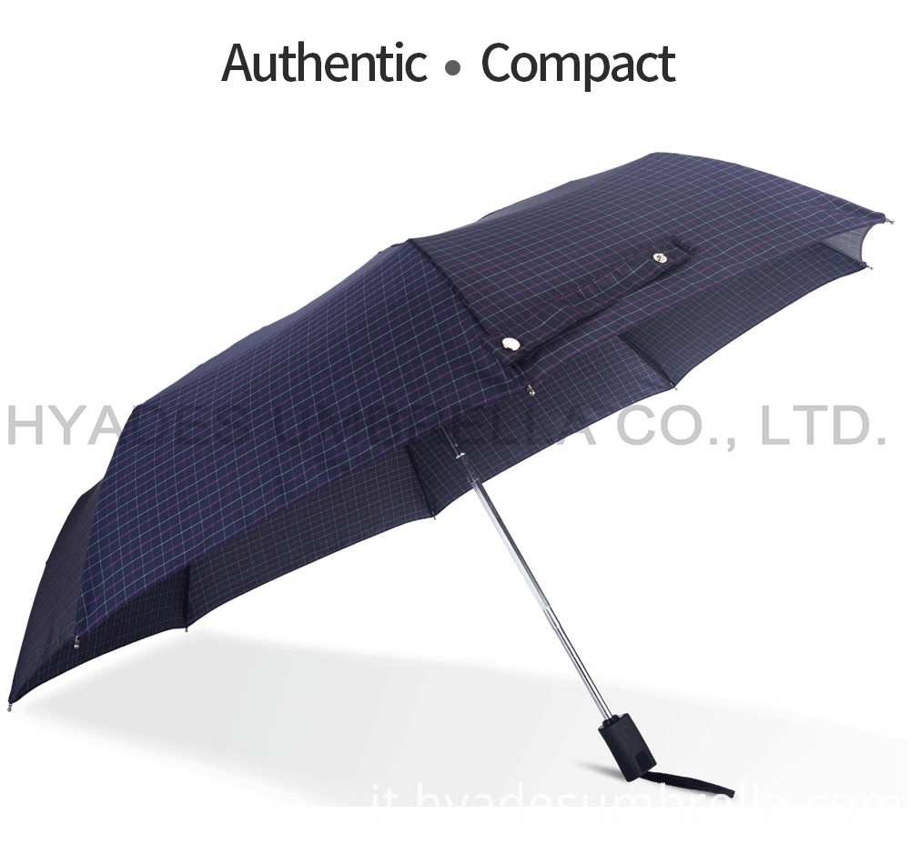 Auto Open And Close Folding Umbrella Yarndye Fabric