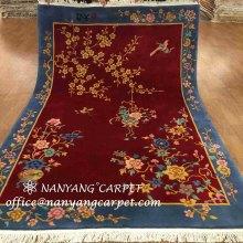 5.5`x8` Red Handmade Oriental  Wool Silk Rug