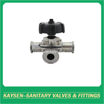Sanitary 3 Way Membrane Valves Tri Clamp Ends