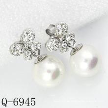 Neueste Styles Perlen Ohrringe 925 Silber (Q-6945)