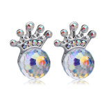 kingly crystal stud earring with' colored diamond