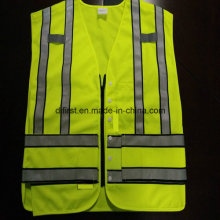 Popular Safety Police Vest Flu Yellow 100%Polyester Knitting Fabric