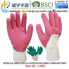 Interlock Liner, Latex 3/4 Coated Gloves (L1903) , Rough Crinkle Finish, Knit Wrist with CE, En388, En420, Work Gloves