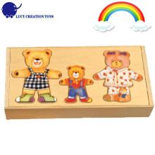 Деревянный мультфильм Счастливые семьи Медведь одеваются Puzzle