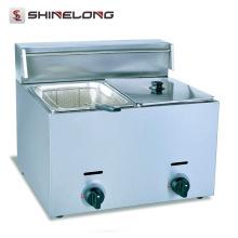 Energiesparend Restaurantausrüstung 2-Tank und 2-Korb-Gas-Fritteuse
