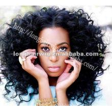 Cheveux courts jerry curl dentelle noire perruques