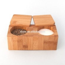 Natural Bamboo Salt box Pepper Storage Box bamboo Spices box