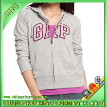 100% Cotton Fashion Lady Hoodies with Applique