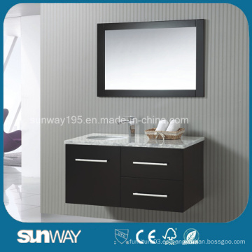 Nuevo estilo de América sólido de madera de tocador de baño con espejo
