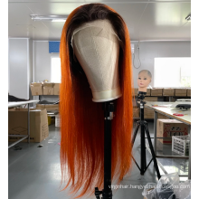 Ginger 100% brazilian natural vendors colored lace front wigs wholesale raw indian hair human wigs pre plucked with baby hair