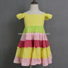 Wholesale Cotton linen fabric rainbow color baby girl dresses