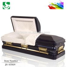 velvet lining black finish 18 ga steel metal casket