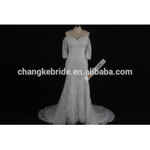 Fashionable Online Scoop Neckline 3/4 Long Sleeve Lace Fish Style Mermaid Wedding Dress