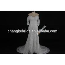 Fashionable Online Scoop Neckline 3/4 Long Sleeve Lace Fish Style Mermaid Wedding Dress