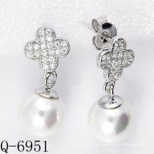 2015 Los últimos estilos cultivaron los pendientes de la perla plata 925 (Q-6951)