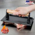 8 x 4-Zoll-Gusseisen-Steak-Speck-Presse mit Holzgriff