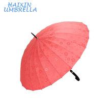 Nouveau promotionnel feuille de Lotus Rencontre Fleur Exposition de Fleurs Parapluie Lorsque parapluie de pluie humide pour la voiture et l'utilisation extérieure