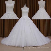 2016 vestidos de boda de la bola + rebordear vestido de encaje largo del tren