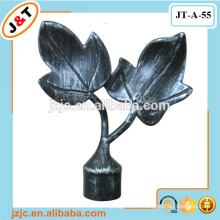 Hot sale black brushed silver painted leaf curtain finial caps for extendable curtain rods