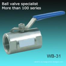 Monoblock cuerpo de una sola pieza Ss304 válvula de bola de 2 pulgadas
