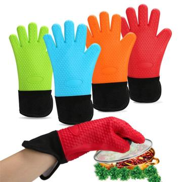 Blue Red Orange Green Cotton Silicone Baking Mitten