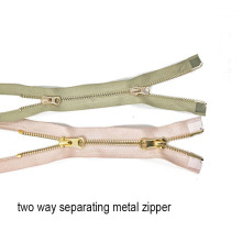 Custom Two way Double slider Metal Zipper