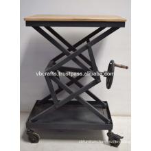 Industrial Crank Table Wooden Top