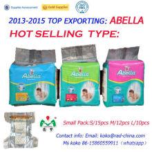 Hotselling Magic Tape PE Pañal de Película África Market Pequeño Paquete Pañales para Bebés