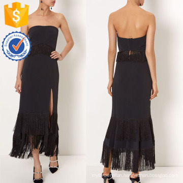 New Fashion Black Strapless Dress With Fringed Waist And Skirt Manufacture Wholesale Fashion Women Apparel (TA5308D)