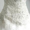 Sweetheart tiefem V-Ausschnitt Emboridery Spitze Appliqued langen Schwanz Kleid Perlen Puffy Ballkleid langen Zug Luxus Brautkleid