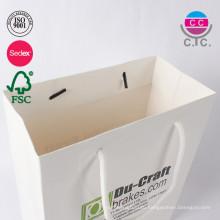 горячая продажа customl низкая цена белый бумажный мешок с ручкой