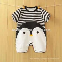 2017 printemps conception bébé barboteuse 100% coton manches longues pingouin rayé garçon barboteuse en gros