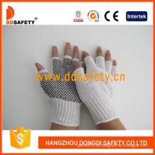 Weiße Baumwolle / Polyesterhandschuhe mit nahtlosen und schwarzen PVC Dots Handschuhe (DKP519)