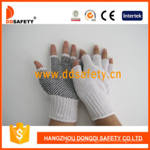 White Cotton/Polyestergloves with Seamless and Black PVC Dots Gloves (DKP519)