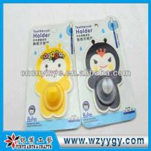 Engraçado personalizada pvc & papel adesivo porta-escovas, suporte do toothbrush promocional