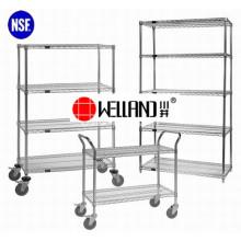 Multi-Purpose Ajustável 4 Camadas Chrome Metal Movable Storage Shelf System