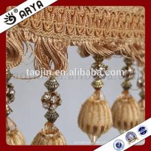 2016 Stock Chinese Manufacture Produkte für Home Decoration und Vorhang Zubehör von dekorativen Pom Pom Perlen Fransen