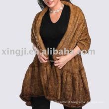 Xaile de pele de vison tricotado