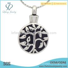 Prata vida árvore cruz cremação jóias pingente