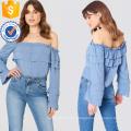 Camisa de manga larga con hombros descubiertos y volantes de verano en color azul Top Fabricación de prendas de vestir al por mayor de mujeres (TA0087T)