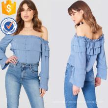 Синий off-плечи с длинным рукавом слоистых трепал летний Топ оптом производство модной женской одежды (TA0087T)