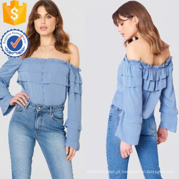 Azul off-ombro manga comprida em camadas babados verão top fabricação atacado moda feminina vestuário (ta0087t)
