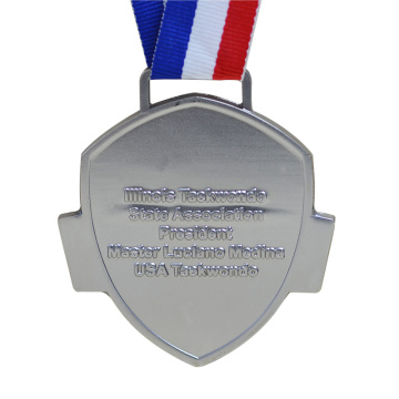 Plated Silver Souvenir Medal with Ribbon