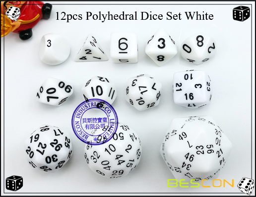 12pcs Polyhedral Dice Set White